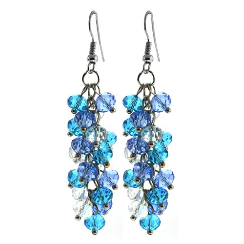 Gem Stone King 2inches Ocean Blue Cluster Faceted Crystal Dangle Hook Earrings For Women 2 Inch