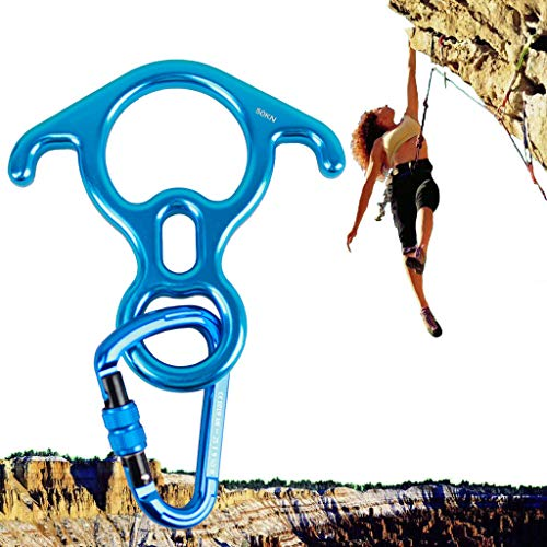 (Geelife 50KN Rock Climbing Terminal Figure 8 Descender Rescue Belay Device Stop Descender and Carabiner Rock Rappelling Gear (Blue))