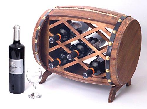 Vintiquewise QI003341 Rustic Wooden Barrel Shaped Rack, 5 Bottle Decorative Wine Holder (Wooden Barrel Wine Rack)