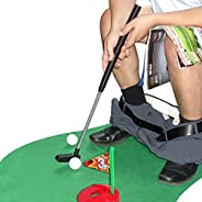 Toilet Golf Potty Time Putter Game - Funny White Elephant Gag Gifts for Adults Men Dad - Prank Joke Christmas