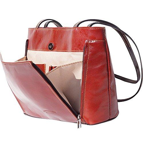 Marron Double Leather 215 Market Lanière Porté Avec marron Foncé Épaule Cuir Sac Florence En aPSqFYwS