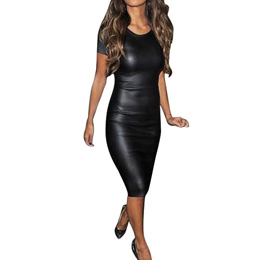 9c07d4c586850 Amazon.com: Minisoya Women Short Sleeve Faux Leather Dress Party Cocktail  Bodycon Midi Sheath Skinny Nightclub Dress: Clothing