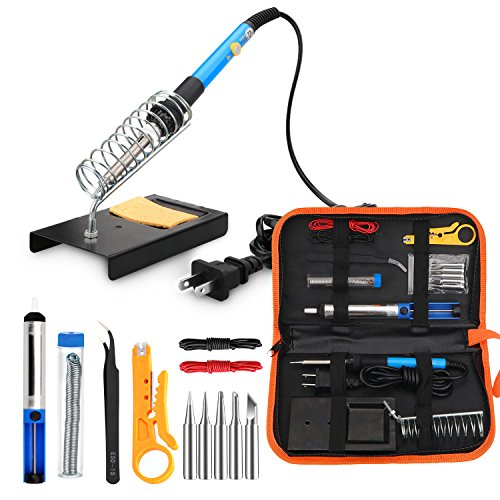 - ANBES Soldering Iron Kit Electronics, 60W Adjustable Temperature Welding Tool, 5pcs Soldering Tips, Desoldering Pump, Soldering Iron Stand, Tweezers
