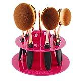 Kwok 10 Hole Oval Makeup Brush Holder Drying Rack Organizer Cosmetic Shelf Tool (Hot Pink)
