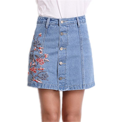 Autumn and winter the new A word skirt high waist skirt(Blue) - 3