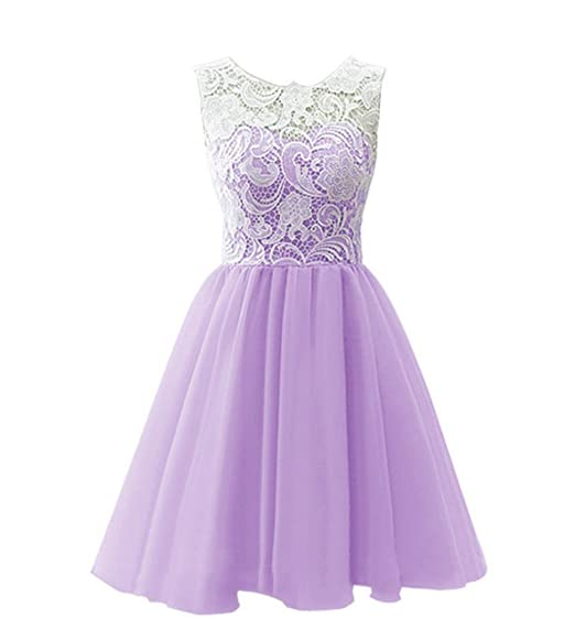 Drasawee Womens Chiffon Homecoming Party Gowns Short Cocktail Prom Dress Light Purple UK14
