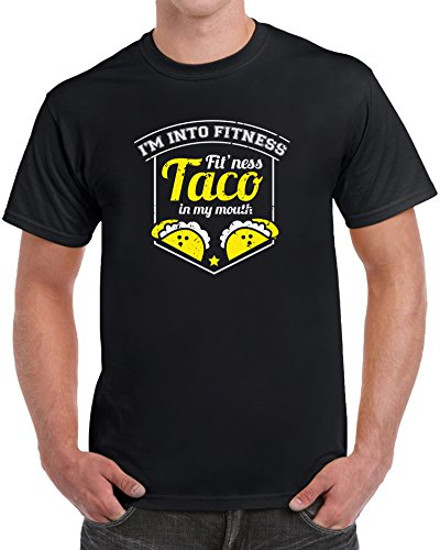 tees geek I'm Into Fitness Fit'ness Taco In My Mouth Funny Men's Novelty T-Shirt - (Small) - (Small Only T-shirt)