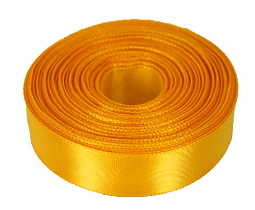 10 Yards Rolled up 7/8 SINGLE FACE SATIN Ribbon 100% Polyester Choose Color (660 - YELLOW GOLD)