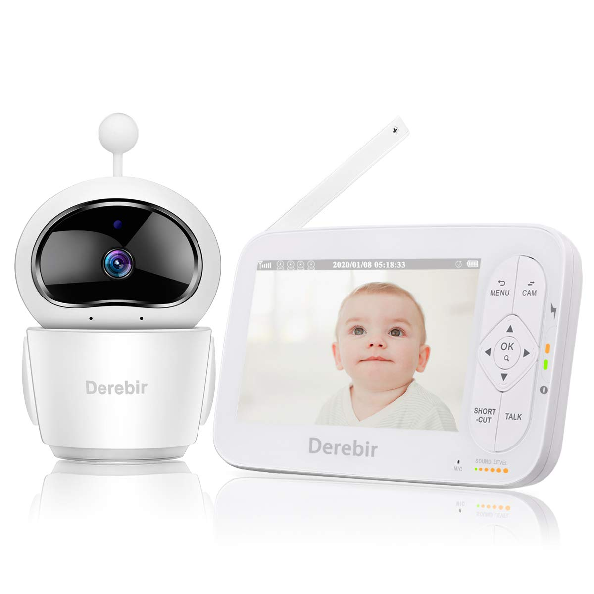 """Video Baby Monitor with Camera 5"""" HD Display Baby Monitor 720P Wireless Night Vision Dual View Video One-Click Zoom,Talk Back, Temperature & Sound Alarm,Lullabies,Up to 960ft Range"""