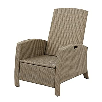 Outsunny Outdoor Rattan Wicker Adjustable Recliner Lounge Chair – Beige and Gray