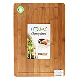 HOKIPO LARGE & THICK Bamboo Chopping Board with Drip Groove and Finger Hole – LARGE (38 x 28 x 1.5 cm)