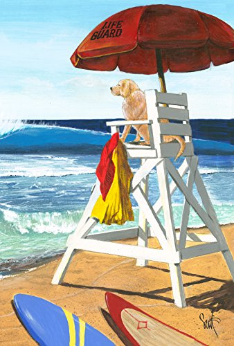 Toland Home Garden Puppy Patrol 28 x 40 Inch Decorative Summer Beach Dog Lifegaurd House Flag