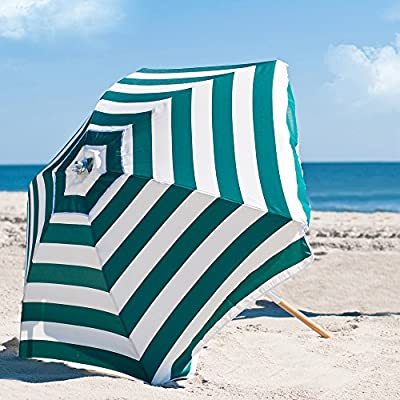 6.5' Shade Star Beach Umbrella Color Forest Green/White Stripe - Dimensions: 78W x 86H inches Solid ashwood pole with durable zinc-plated joints and rivets Olefin fabric shade offers UPF 50 plus sun protection - shades-parasols, patio-furniture, patio - 51qSm2tzgOL. SS400  -