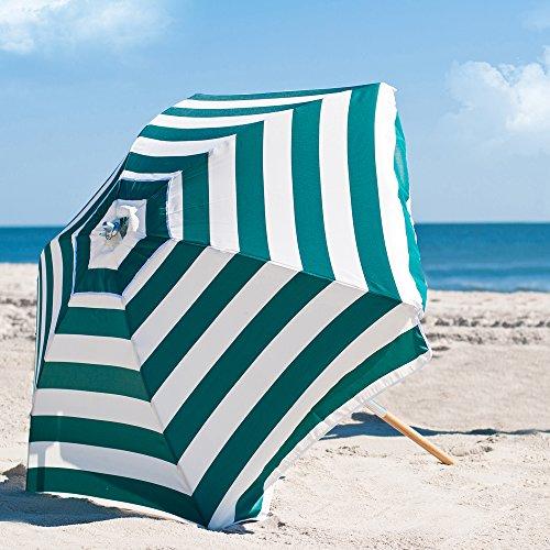 Ash Stripe Wood (6.5' Shade Star Beach Umbrella Color Forest Green/White Stripe)