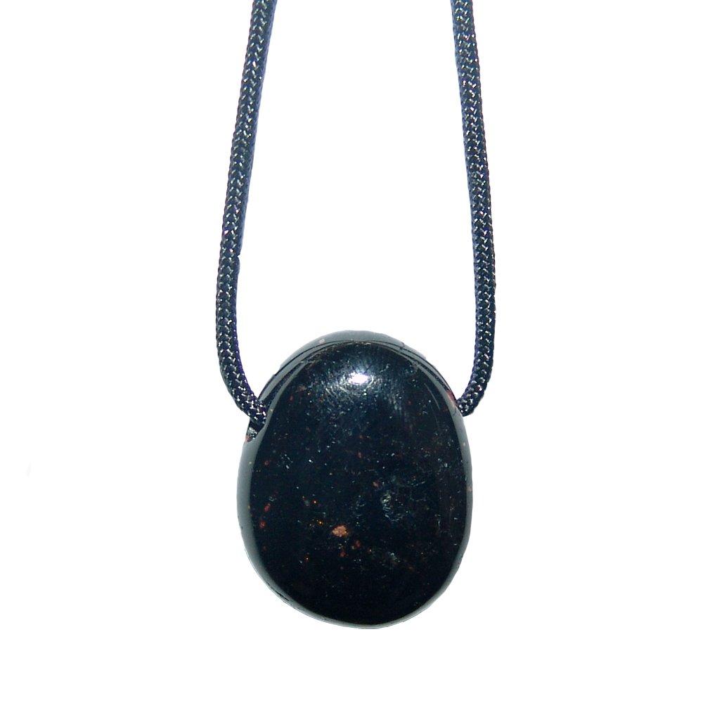 1 x Turmalin schwarz Schörl flach gebohrt mit Band Nr. 2271 Janni-Shop®