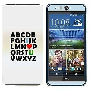 EJOOY---Cubierta de la caja de protección para la piel dura ** HTC Desire Eye M910x ** --Alfabeto Abc I Love U You Valentines texto Impresiones