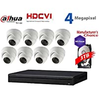 Dahua 4MP Tribrid Security Package: 16CH 4MP Tribrid HCVR7216 (CVI AND IP and Analog ) w/3TB Security Hard Drive + (8) 4MP Outdoor HDCVI WDR IR HDW2401 3.6MM Eyeball (NO LOGO OEM Local Support)