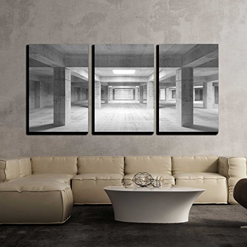 wall26 - 3 Piece Canvas Wall Art - Illustration - Empty dark abstract industrial concrete interior 3d illustration - Modern Home Decor Stretched and Framed Ready to Hang - 24