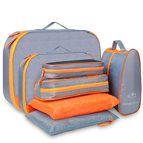 Packing Cubes for Travel – Luxsure 7 Packs Waterproof Travel Storage Bag Including Packing Cubes & Underwear Pouches & Shoes Bag & Mesh Bag & Toiletry Bag for Well Organized (Orange-Grey)