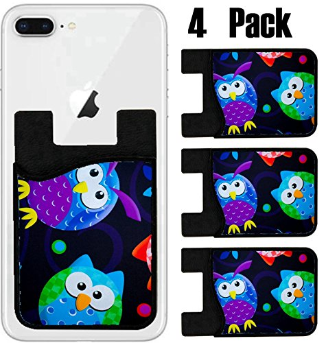 MSD Phone Card holder, sleeve/wallet for iPhone Samsung Android and all smartphones with removable microfiber screen cleaner Silicone card Caddy(4 Pack) IMAGE ID 35645018 Funky owls by MSD