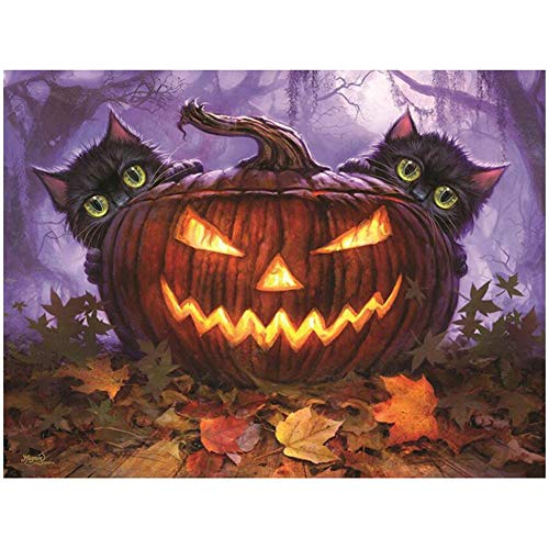 VKTECH Full Drill 5D DIY Diamond Painting Kit Halloween Pumpkin Cats Round Rhinestone Dotz Embroidery Canvas Cross Stitch Craft Gift for Living Room Bedroom Decor 16 X 12 -