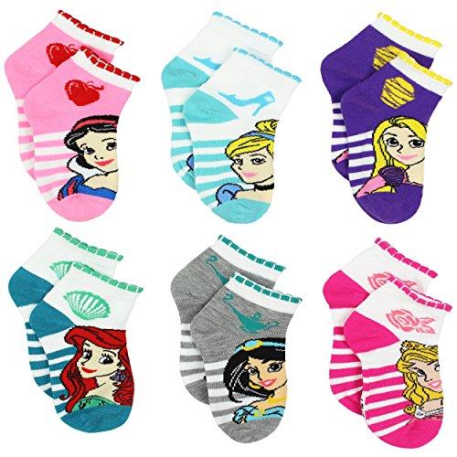 Disney Princess Girls Teen Womens 6 pack Socks (4-6 Toddler (Shoe: 7-10), Princess Stripes Quarter) by Disney (Image #1)