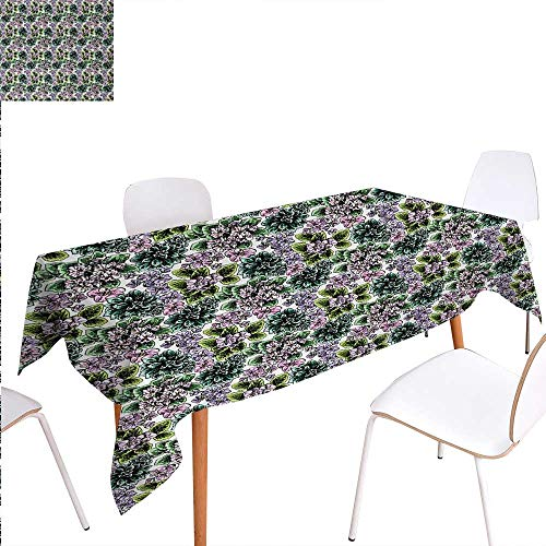 Warm Family Floral Printed Tablecloth Flowering Plants Gardening African Violet Peonies Hydrangea Foliage Illustration Rectangle Tablecloth 70
