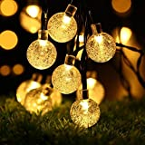 Stoog Solar Bubble Light String Waterproof 6M 30 LED Crystal Ball Lights Globe Fairy Lights for Courtyard Gardens Homes Patio Lawn Wedding Halloween Christmas Party Holiday Decorations (Warm White)