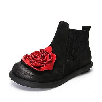 Hy Botas para Mujer, Cuero Botas de Moda de otoño/Invierno, Damas Flores