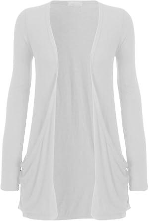 Zj Clothes Ladies Women Boyfriend Open Cardigan with Pockets White ...