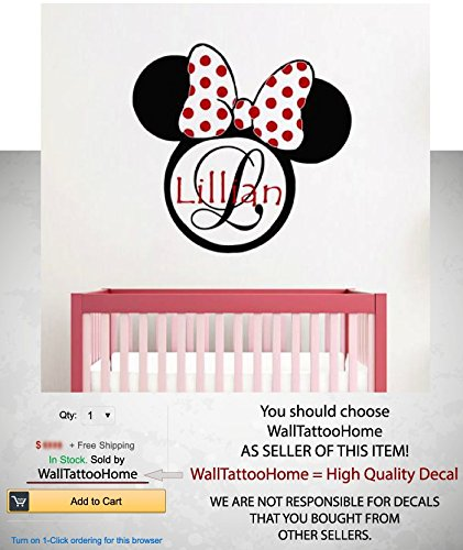 Wall decals custom personalized name decal minnie mouse ears frame initial monogram girl vinyl sticker girl