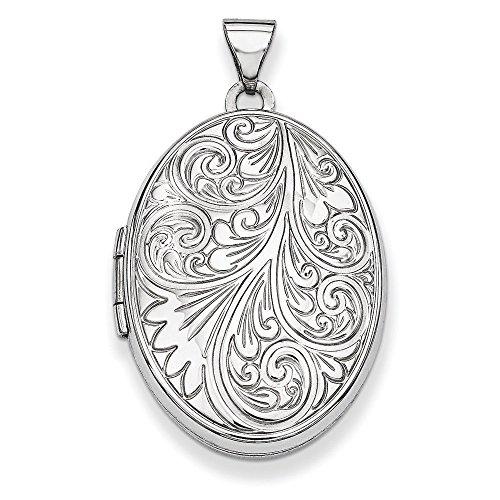 Or blanc 14 carats 1,5 mm Molette JewelryWeb-Pendentif Médaillon-Locket ovale
