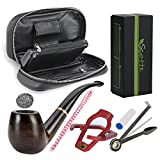 Scotte ebony tobacco pipe with+tobacco pipe pouch(stand,scraper,filter element,pouch,gift box) accessories