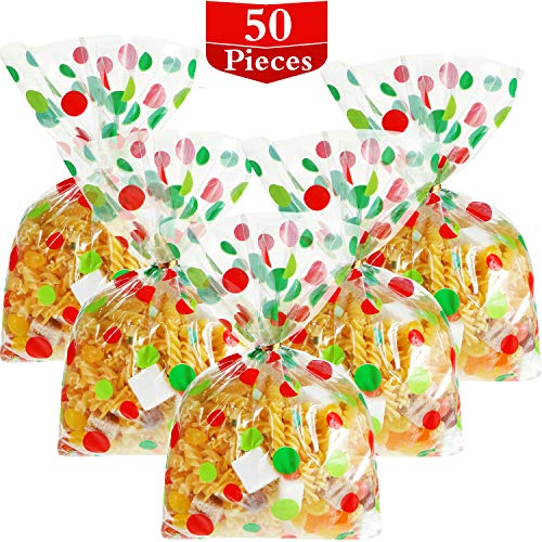 Hestya 50 Counts Flat Clear Cellophane Treat Bags Cellophane Block Bottom Red and Green Polka Dot Patterned Storage Bags Sweet Bags with Twist Ties for Christmas Party Favor (Style E)