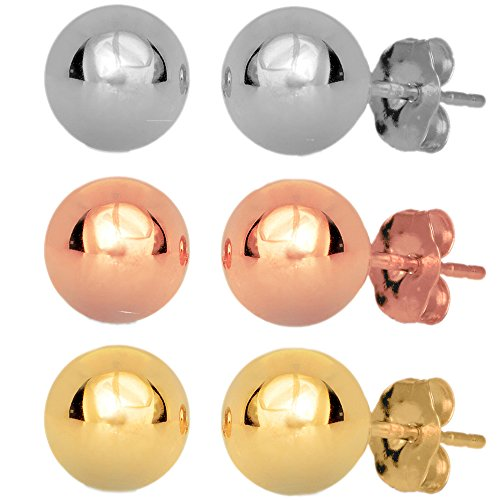 JewelStop 14k Real Yellow White Rose Gold 6mm Ball Stud Earrings 3 Pair Set Friction - Ball Stud Back Friction Earrings