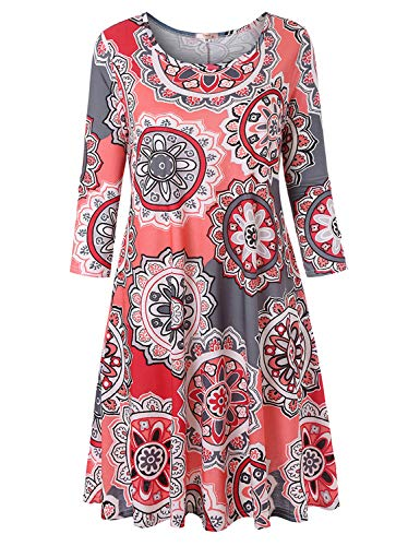 - Tanst Round Neck Dresses for Women Lady Flower Half Sleeve Dressy A Line Stretchable Knee Length Flattering Floral Printed Tunic Dress Gery XL