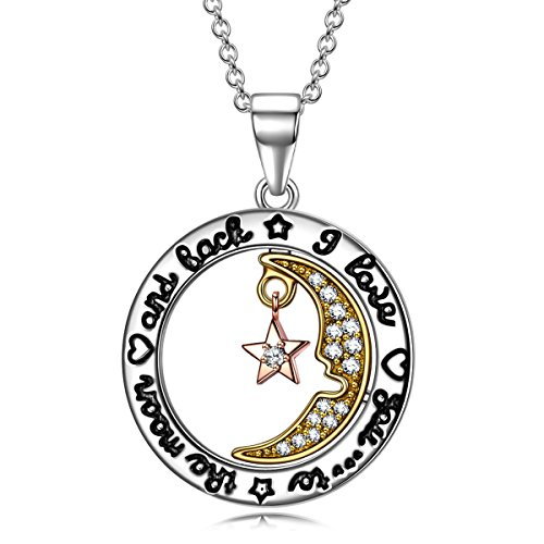 """SIVERY """"Moon Star"""" 925 Sterling Silver Necklace Women, Fine Jewelry Mom, Birthday Gifts Teen Girls (I Love You to The Moon Back)"""