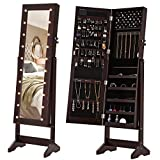 SONGMICS LED Jewelry Cabinet Lockable Jewelry Armoire with Full Length Mirror 20 Large Marquee Lights Brown UJJC81BR