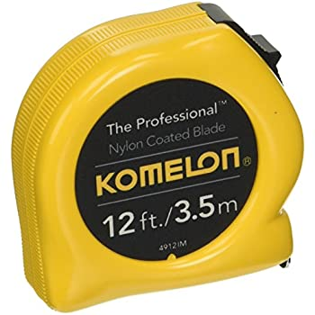 Komelon 4912IM The Professional 12-Foot Inch/Metric Scale Power Tape, Yellow