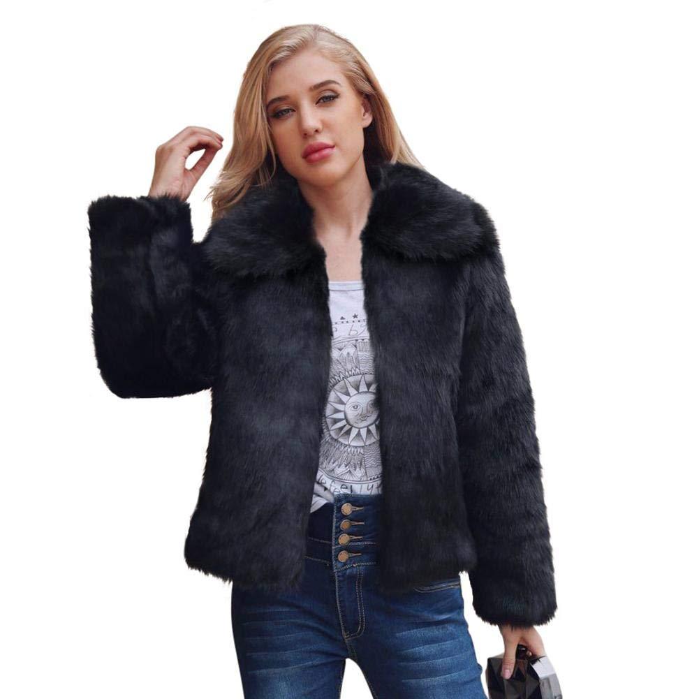 Black Alian Women's Winter Faux Coat, Fashion Fluffy Fur Outerwear Short Jacket