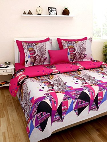 Home Castle Modern Style 180 TC Polyester Double Bedsheet with 2 Pillow Covers – Multicolour