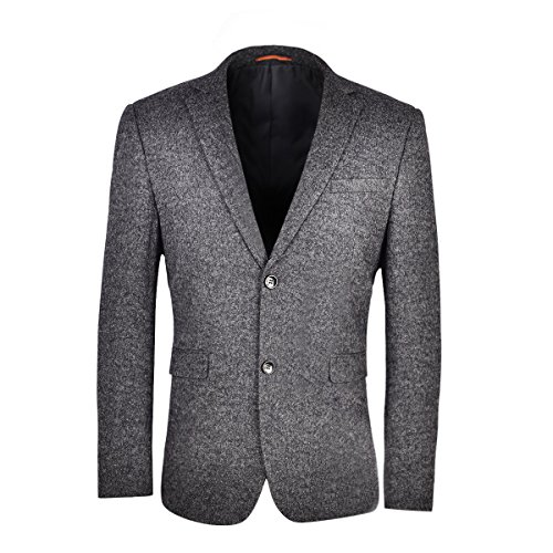 VOBOOM Men's Wool Blend Sport Coat Casual Blazer Two Button Suit Jacket (Grey, S) - Blend 2 Button Jacket