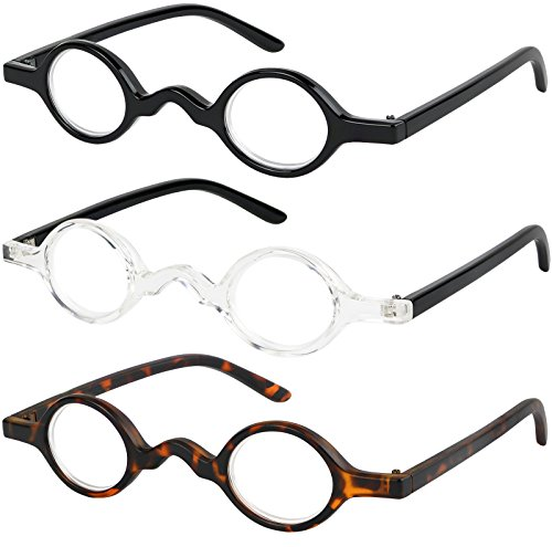 Reading Glasses Set of 3 Spring Hinge Professor Readers for Men and Women Quality Fashion Glasses for Reading +1.5