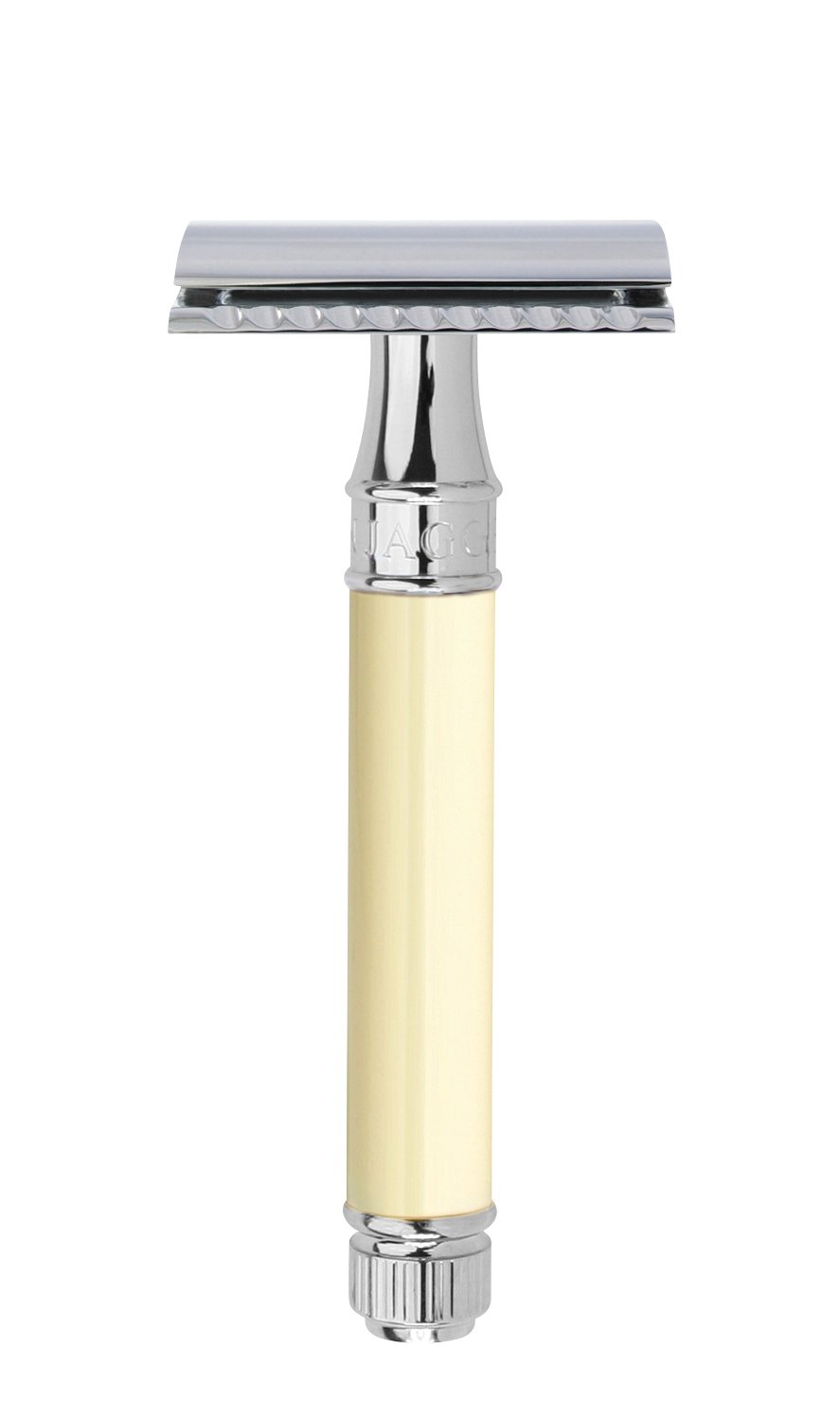 Edwin Jagger Double Edge (DE) Chrome & Ivory Color Handle Safety Razor