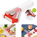 Vegetable Julienne&Fruit Peeler for Kitchen- 3 in 1 Stainless Steel/Sharp/Multi Blade,Swivel Skin Peeler&Swiss Peeler for Veggies,Potatoes,Zucchini,Tomatoes,Squash and Cabbage.