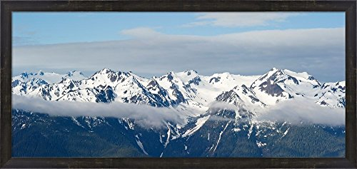 Snow covered mountains, Hurricane Ridge, Olympic National Park, Washington State, USA by Panoramic Images Framed Art Print Wall Picture, Espresso Brown Frame, 38 x 18 (Olympic National Park Pictures)