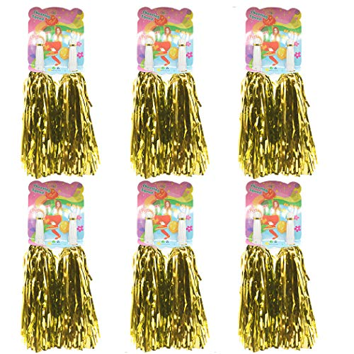 Creatiee 1 Dozen Premium Cheerleading Pom Poms, 12Pcs Hand Flowers Cheerleader Pompoms for Sports Cheers Ball Dance Fancy Dress Night Party (Gold)
