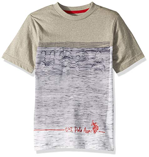 (U.S. Polo Assn. Boys' Big Short Sleeve Graphic Print T-Shirt, Marled Light Grey 8)