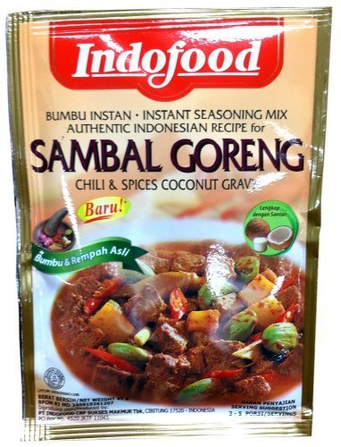 Indofood Authentic Indonesian Recipe for SAMBAL GORENG Chili & Spices Coconut Gravy Instant Seasoning Mix 1.5oz (2 Pack) by Indofood