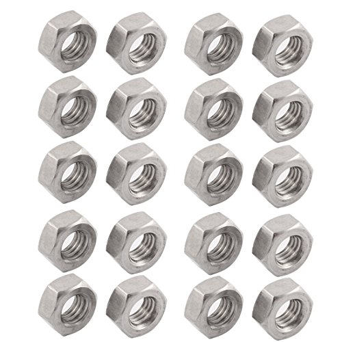 uxcell Metric M8x1.25mm Stainless Steel Finished Hex Nut Silver Tone 20pcs